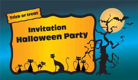 halloween party: Halloween party uitnodiging met zwarte katten, vleermuizen en spookachtige boom Stock Illustratie