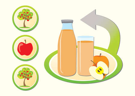 Concept of making apple juice with three buttons Vector
