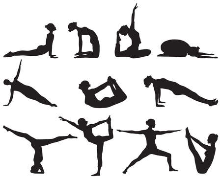 Eleven famous silhouettes of yoga positions on white background Vector
