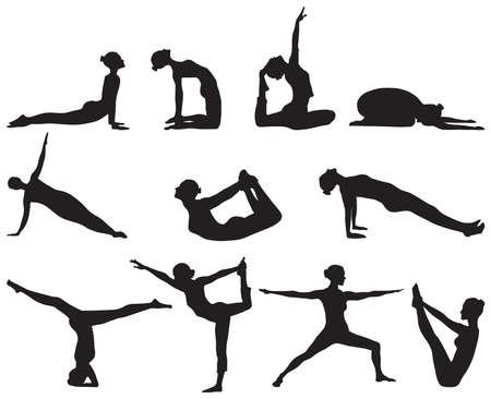 Onze silhouettes célèbres de positions de yoga sur fond blanc Banque d'images - 15279324