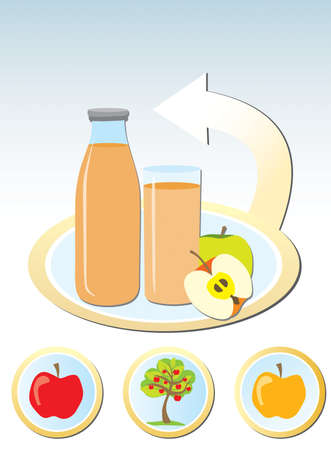 Concept of making apple juice Vector