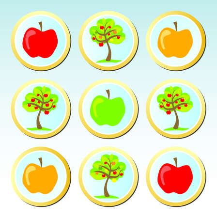 Colorfull buttons with apple motives Stock Vector - 15813551