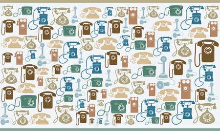 Diverses drôles colourfull millésime vieux téléphones sur fond beige Banque d'images - 15813560