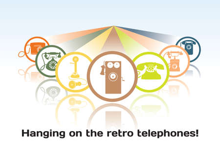 The concept of the old retro telephone rounded icons Illustration