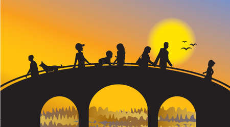 The bridge and people silhouettes on sunset Vector