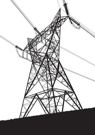torres de alta tension: Línea de transmisión en el fondo blanco