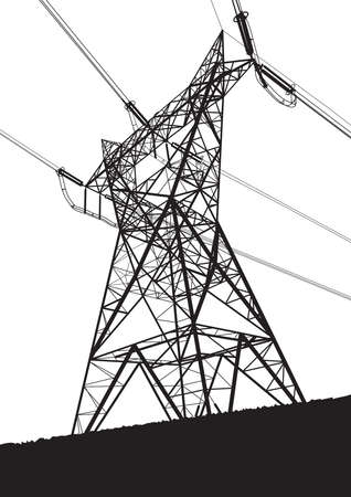 Transmission line on the white background