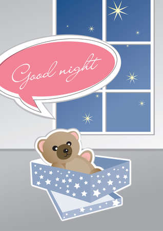 Teddy Bear wishes You Good Night from his box Illustration