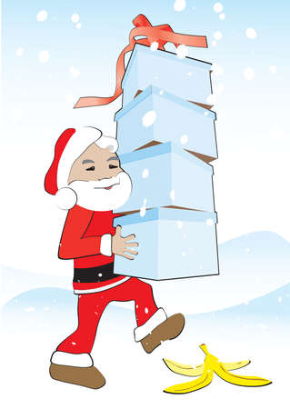 Santa carries the gift boxes and steps on the banana peel Stock Vector - 16010281