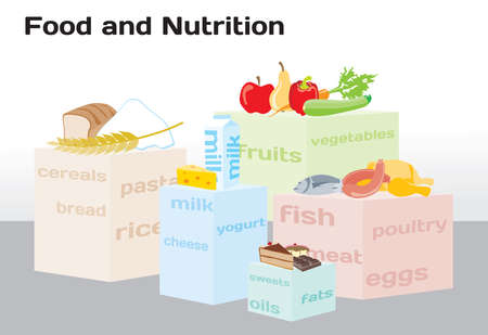 food pyramid: Food and Nutrition shown in infographic chart Illustration