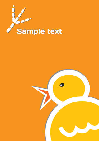 The big funny chicken on the orange template background Vector