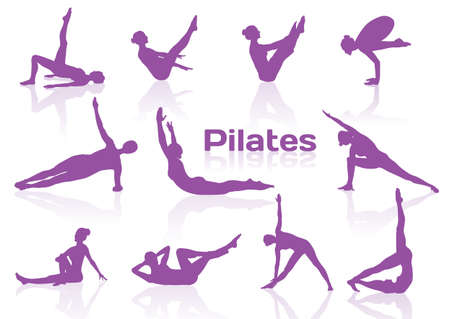 women yoga: Pilates poses in violet silhouettes