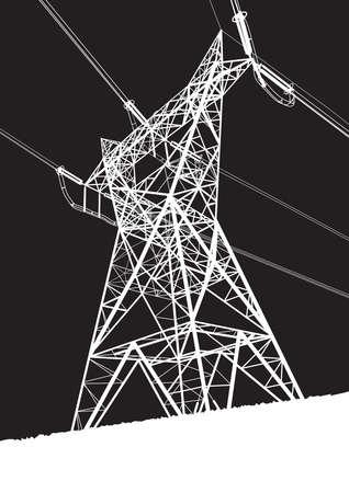 redes electricas: Línea de transmisión sobre el fondo negro Vectores
