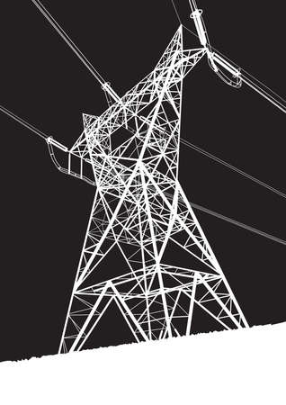 electrical tower: Transmission line on the black background
