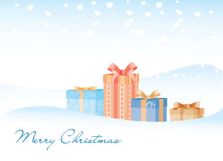 The gifts on the snow background with Marry Christmas sign Illustration