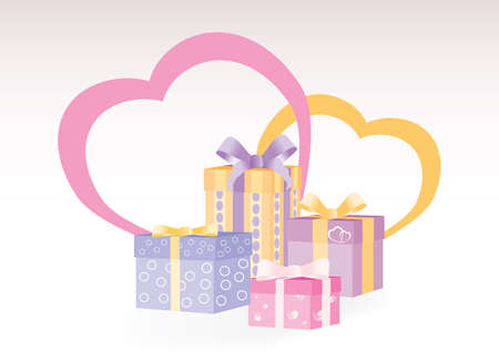 Gift boxes with two hearts on the background expressing love Vector