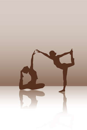 Two dancers on the brown background Illustration