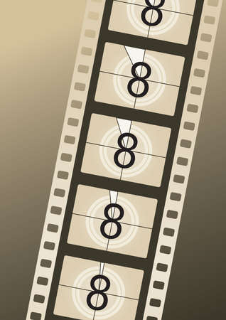 Filmstrip countdown from number eight on brown background
