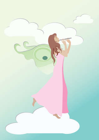 Fairy playing flute on the cloud Stock Vector - 17691977