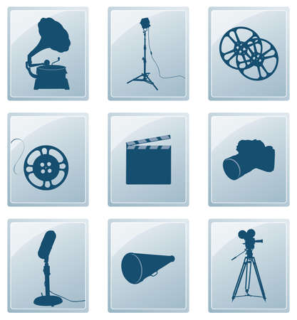 Icons with silhouettes of retro gramophone, reflector, film, camera, microphone, megaphone... Vector