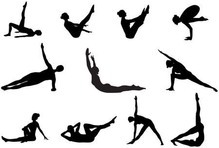 warm up: Eleven pilates silhouettes of working out and stretching on the white background Illustration