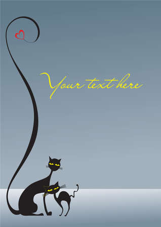 Two loving black cats on the gray background plus heart, decorative Vector