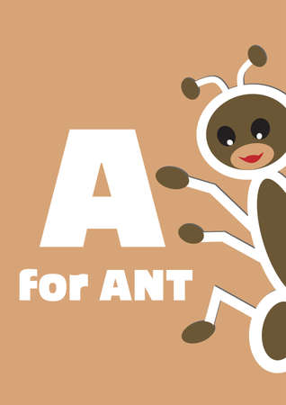 A for the ant, an animal alphabet for the kids Vector