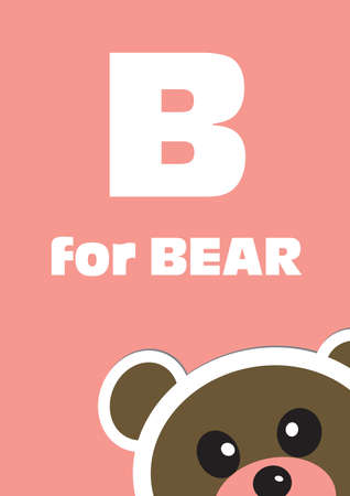 B for the Bear, an animal alphabet for the kids Vector