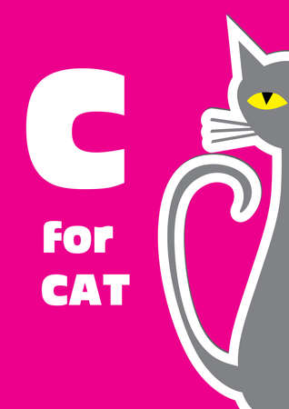 C for the Cat, an animal alphabet for the kids Vector