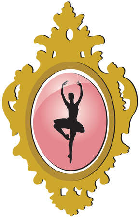 Old golden brooch with ballerina silhouette Vector