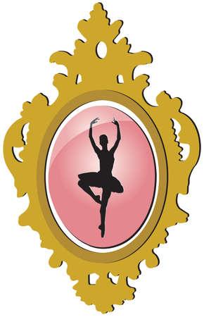keepsake: Old golden brooch with ballerina silhouette
