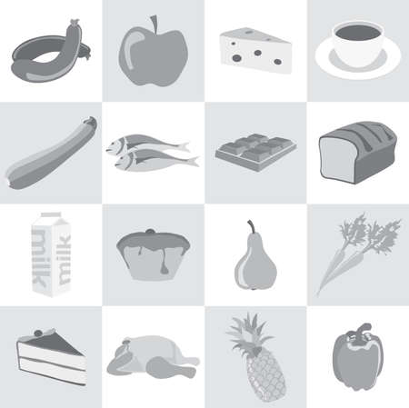 Food icons in black and white; sausage, apple, cheese, coffee, zucchini, fish, chocolate, bread, milk, muffin, pear, carrot, cake, chicken, pineapple, paprika