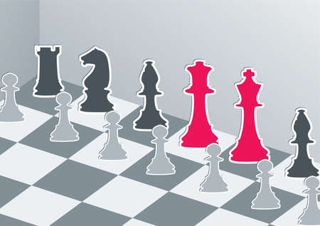 chess move: Chess figures in gray with red king and queen Illustration
