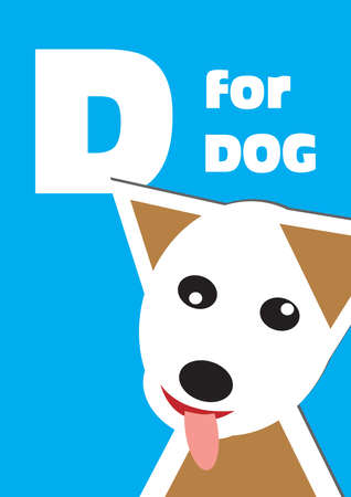D for the Dog, an animal alphabet for the children Vector