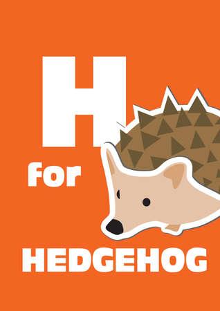 H for the hedgehog, an animal alphabet for the kids Illustration