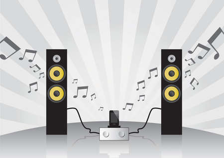 Hi-fi set with loudspeakers, amplifier and dock for mobile phone on the gray background