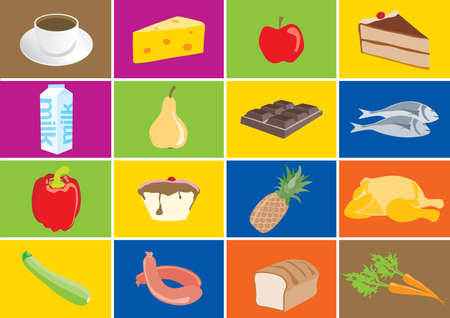 Colorful food icons with meals isolated Stock Illustratie