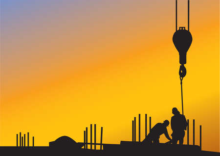 The sunset background with silhouettes of construction workers Vector