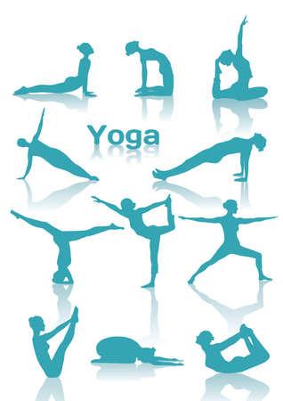 gym room: Yoga posiciona siluetas verdes