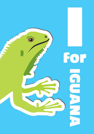I for Iguana, an animal alphabet for the kids Vector