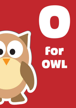 O for the Owl, an animal alphabet for the kids Vector