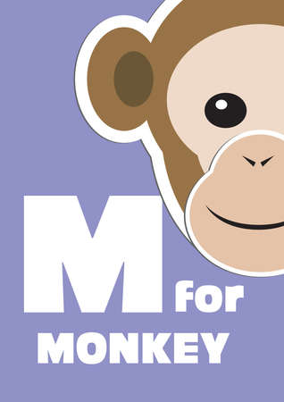 english language: M for the Monkey, an animal alphabet for the kids
