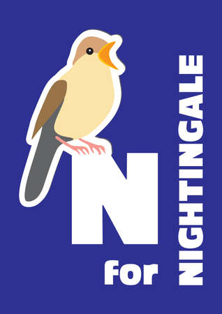 N for the nightingale, an animal alphabet for the kids Vector