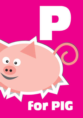 P for the Pig, an animal alphabet for the kids Vector