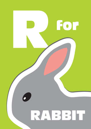 english language: R for the Rabbit, an animal alphabet for the kids Illustration