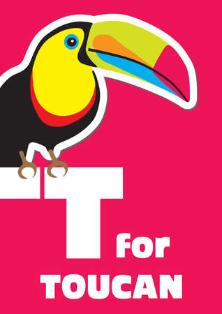 T for the Toucan, an animal alphabet for the kids Vector