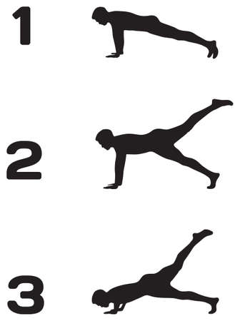push up: Man doing push ups in three steps black silhouettes on white background, fitness
