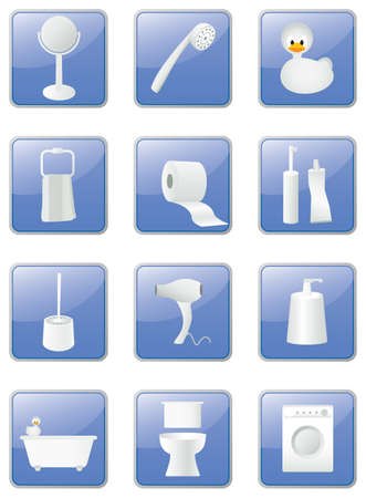 Bathroom equipment icons set, blue buttons Stock Illustratie