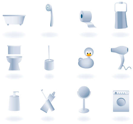 toilet brush: Bathroom equipment set of icons, vector