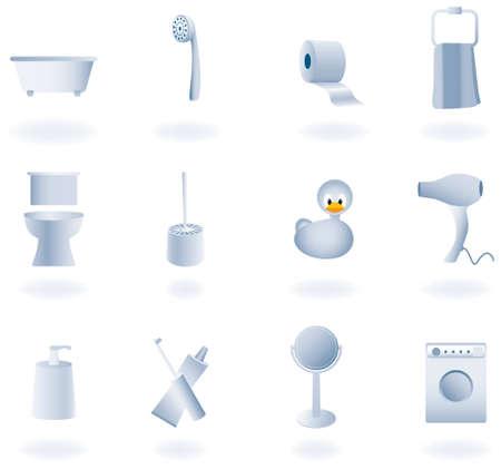 Bathroom equipment set of icons, vector